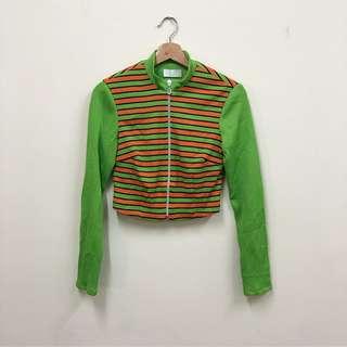 🚚 怪奇特色 橘色條紋 綠色 短版外套 長袖上衣 辣妹 古著 二手