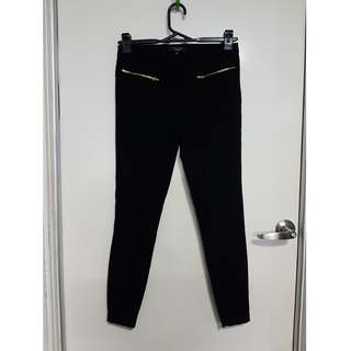 Black Pants with Gold Zipper Detail