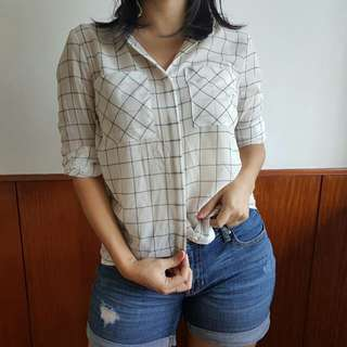 Forever 21 Blue Checkered Button Down