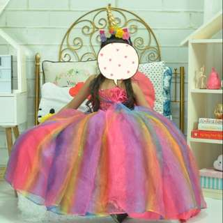Custom Made Rainbow Ball Gown, Unicorn Costume