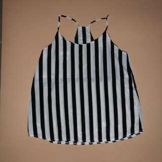 B&w stripe chiffon tank top
