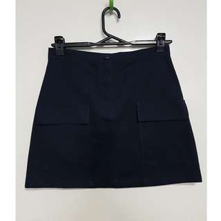 Navy Mini Skirt with Pockets