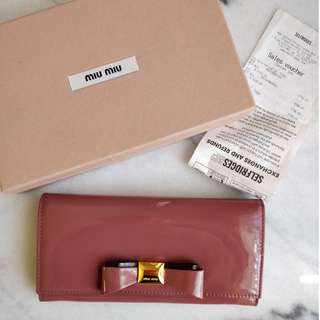 Miu Miu Patent Nappa Leather Wallet