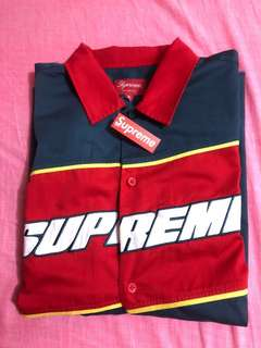 Supreme SS18 Color blocked work shirt Navy