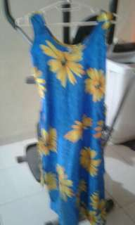 Blue n yellow floral print sleeveless maxi dress from Canada