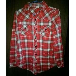 紅色格子長袖襯衫 #一百元好物