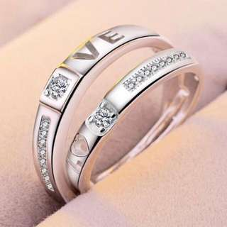 LOVE PROPOSAL COUPLE RINGS # ADJUSTABLE SIZE