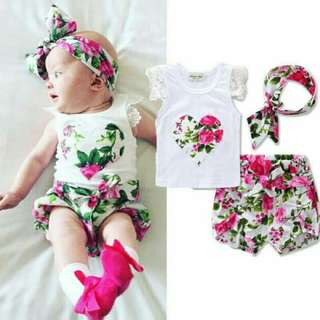 Floral Baby Girl Set with headband