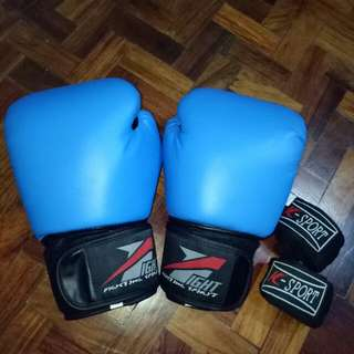 FIGHT Blue Boxing Gloves [FREE] Handwrap