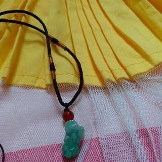 天然翡翠绿貔貅锁骨链