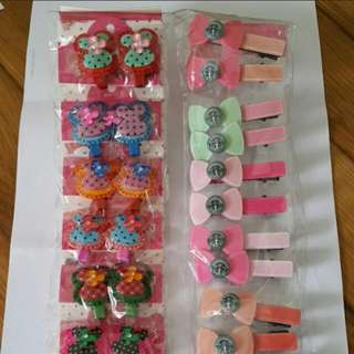Assorted colours starbucks hair clips for girls