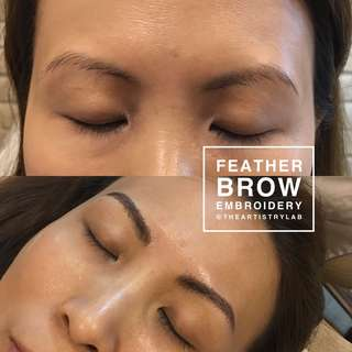 Feather brows embroidery
