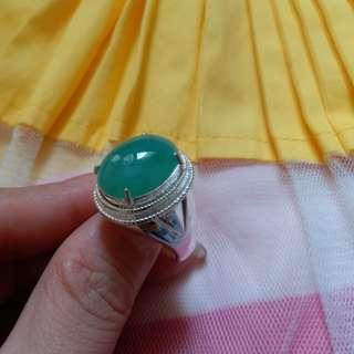 天然翡翠果绿大戒指1号