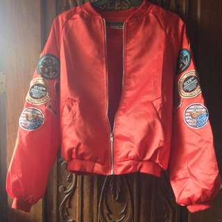 (Sevastra) Red Bomber Jacket with Patches