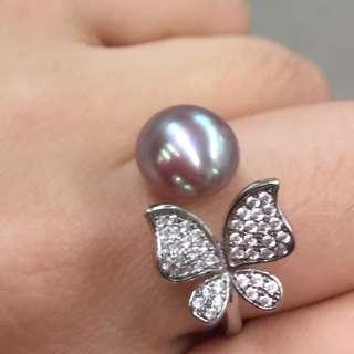 """天然珍珠 純銀戒指""""平到笑$699 原價$2300"""