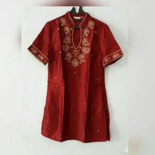 Baju muslim merah maroon Accent