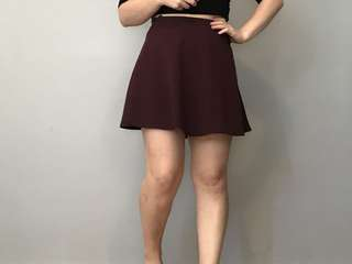 Textured burgundy skater skirt
