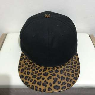 Black and Animal-printed Snapback / Cap