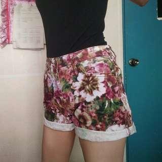 Purple Floral High Waist Shorts