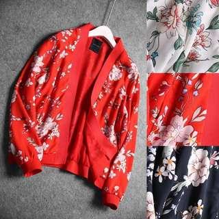 OshareGirl 03 法國單花朵圖騰印花雪紡外套罩衫