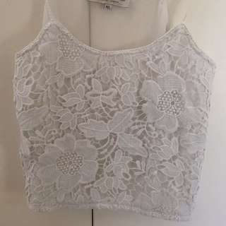 White floral lace crop