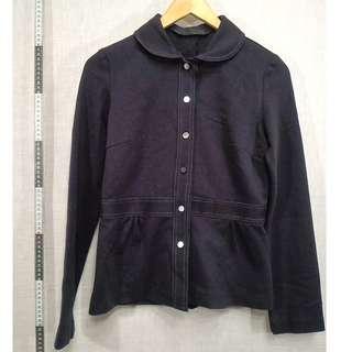 🚚 11118153-Antique Noten visible stitch raisin black jacket古著明線縫線葡萄黑外套