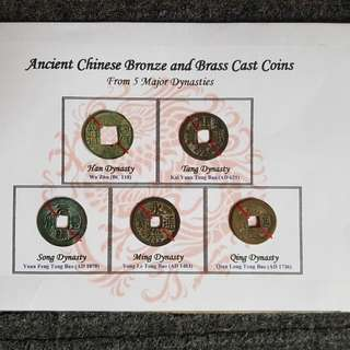 Ancient Chinese Bronze and Brass Cast Coins
