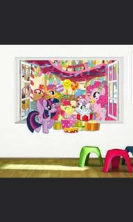 🎁My Little Pony: Kids Room Windows Landscape Wall Stickers Background Wall Stickers Kindergarten Decorative Stickers/Home Decor ( Raw sticker 70*50cm )