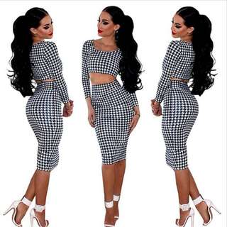 Brand new sz M houndsooth two piece set