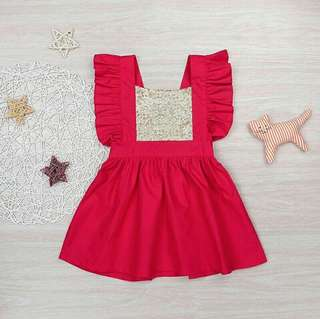 Red/Gold Sequin Dress