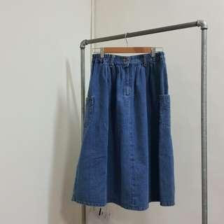 🚚 厚磅oversize雙口袋蓬蓬牛仔長裙