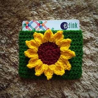 Sunflower crochet cardholder