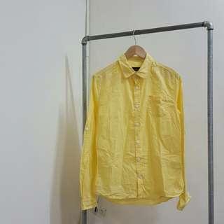 🚚 薄款春夏黃色襯衫