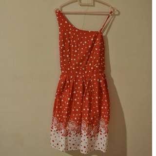 mini dress red polkadot white