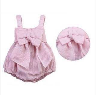 Baby Newborn Girl Striped Pink Romper