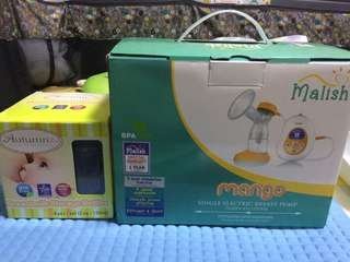 Single Electric Breast Pump and Breastmilk storage bottles
