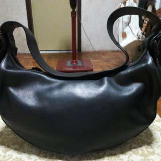 Salvatore Ferragamo Genuine Leather Hobo Black Bag