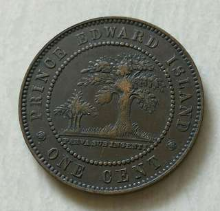 Prince Edward Island 1871 1 Cent Coin With Good Details