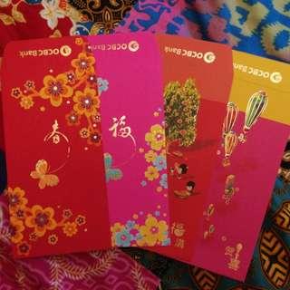 1 set of 4 pcs OCBC BANK Red Packets