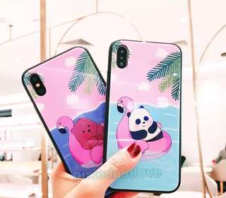 We bare bear Grizzly bear and pandabear tempered glass phone casing