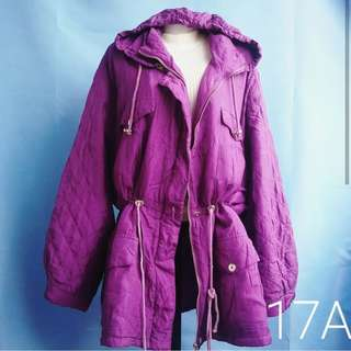Purple Parka Drawstring Winter jacket with hood