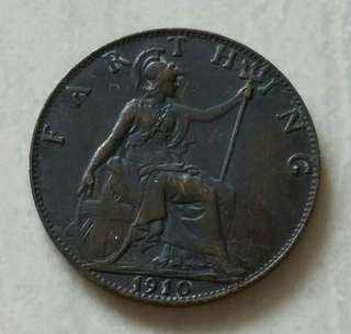 Britain 1910 King Edwards VII Farthing Coin With Nice Details
