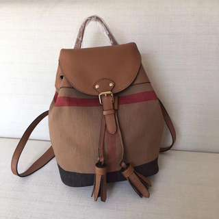 Burberry Canvas Leather mix backpack Brown