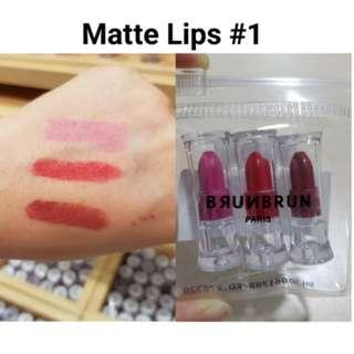 Brun Brun Matte Lips MINI SET ( isi 3pcs)