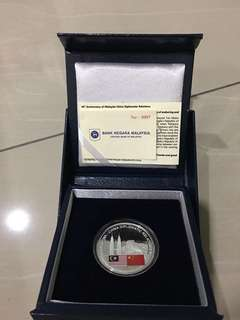 40th Anniversary of Malaysia-China Diplomatic Relations 10 Ringgit Silver coin