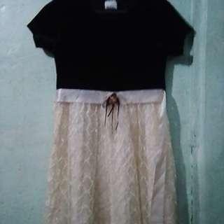 Velvet and Lace Black&White Dress