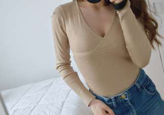Beige ribbed Xanaka sweater