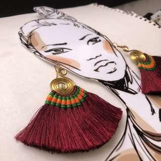 Handmade tassel earring