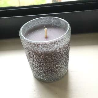 Cute small purple/Gray glitter candle