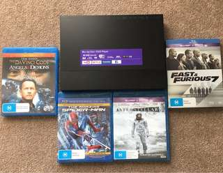 Sony 4K upscale Bluray Player with 5 movies